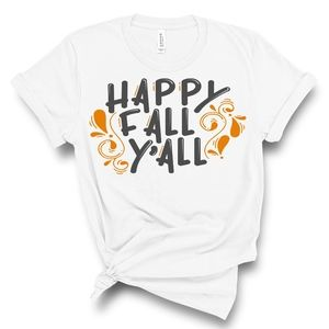 New Happy Fall Y'all White Tee